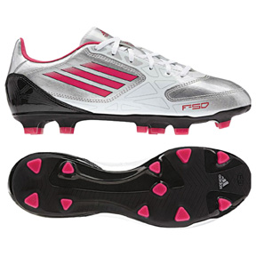 adidas Womens F10 TRX FG Soccer Shoes (Silver/Pink)