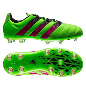 adidas Youth  ACE 16.1 Leather FG/AG Soccer Shoes (Solar Green)
