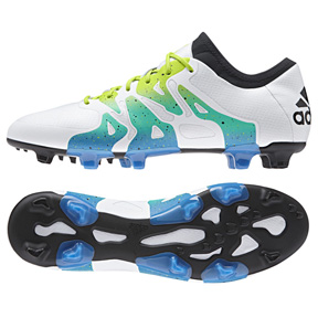 adidas Youth  X 15.1 FG/AG Soccer Shoes (White/Solar Slime)