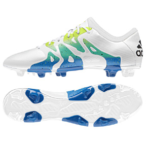 adidas  X 15.2 TRX FG/AG Soccer Shoes (White/Solar Slime)