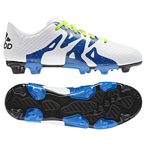 adidas Youth  X 15.3 FG/AG Soccer Shoes (White/Blue)