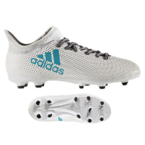 adidas Youth  X 17.3 FG Soccer Shoes (White/Energy Blue)