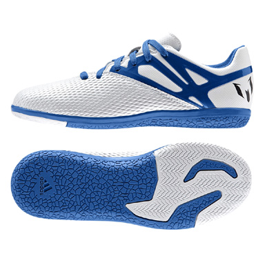 adidas Youth Lionel Messi 15.3 Indoor Soccer Shoes (White/Blue)