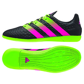 adidas  ACE 16.3 Indoor Soccer Shoes (Black/Green/Pink)