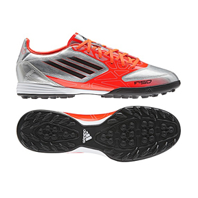 adidas F10 TRX Turf Soccer Shoes (Silver/Orange)
