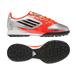 adidas Youth F10 TRX Turf Soccer Shoes (Orange/Silver)