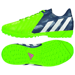 adidas Youth Predito Instinct Turf Soccer Shoes (Bright Green/Navy)