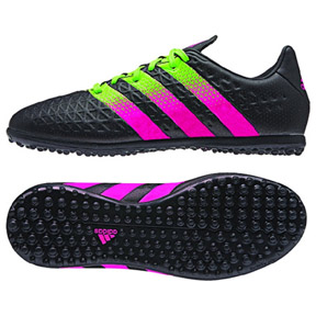 adidas Youth ACE 16.3 Turf Soccer Shoes (Black/Green/Pink)