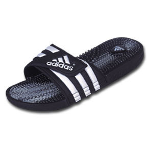 adidas Santiossage Soccer Sandal / Slide (Black/White/Clear)