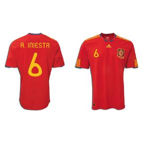 adidas Spain Iniesta #6 Soccer Jersey (Home 2010/11)