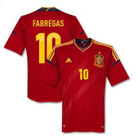 adidas  Spain Fabregas #10 Soccer Jersey (Home 2012/13)