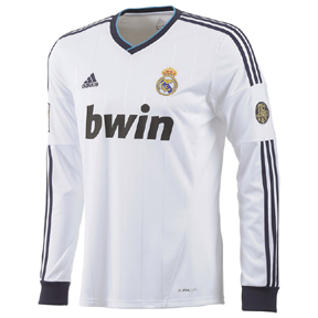adidas Real Madrid  Long Sleeve Soccer Jersey  (Home 2012/13)
