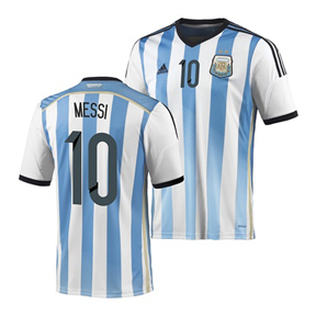 adidas  Argentina Lionel Messi #10  Soccer Jersey (Home 2014)