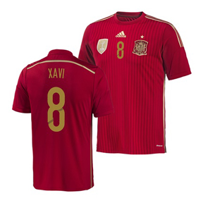adidas Spain Xavi #8 World Cup 2014 Soccer Jersey (Home)
