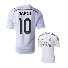 adidas  Real Madrid  James Rodriguez #10 Soccer Jersey (Home 2014/15)