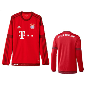 adidas Bayern Munich Long Sleeve Soccer Jersey (Home 2015/16)