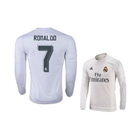 adidas  Real Madrid  Ronaldo #7 LS Soccer Jersey (Home 2015/16)