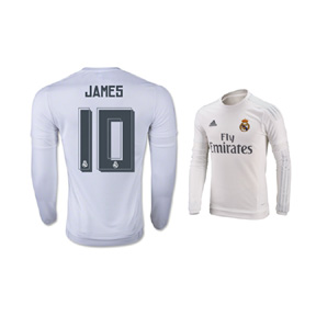 adidas Real Madrid James #10 LS Soccer Jersey (Home 2015/16)