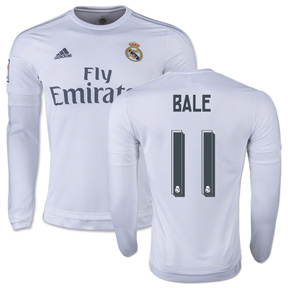 adidas Real Madrid Bale #11 LS Soccer Jersey (Home 15/16)