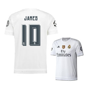 adidas  Real Madrid  James #10 UCL Soccer Jersey (Home 15/16)