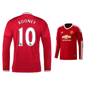 adidas Manchester United Rooney #10 LS Jersey (Home 2015/16)