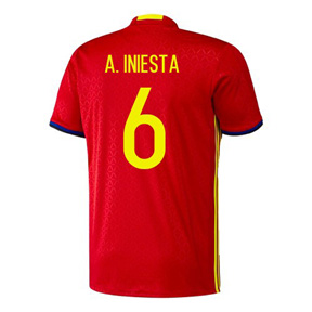 adidas  Spain  Iniesta #6 Soccer Jersey (Home 2016/17)