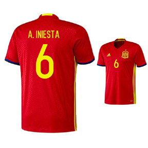 adidas Youth  Spain  Iniesta #6 Soccer Jersey (Home 2016/17)