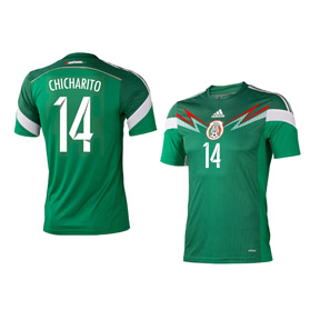 adidas Youth Mexico Chicharito #14 Soccer Jersey (Home 2014)