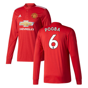 adidas  Manchester United  Pogba #6 LS Soccer Jersey (Home 17/18)