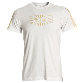 adidas France National Team Logo Soccer Tee (White/Gold)