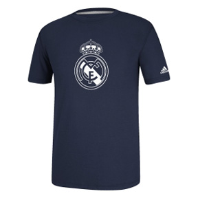 adidas Real Madrid Logo Soccer Tee (Navy/White)