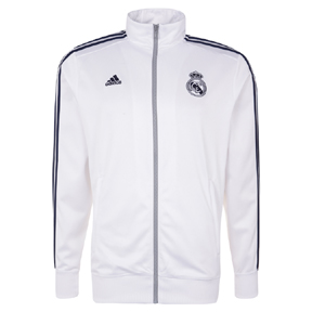 adidas Real Madrid 3-Stripes Soccer Track Top (White/Indigo 15/16)