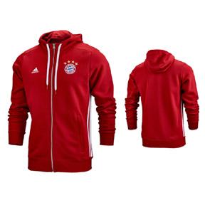 adidas  Bayern Munich  3-Stripe Soccer Hoody (True Red)