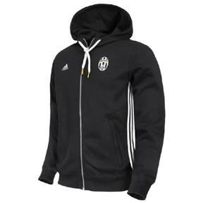 adidas  Juventus 3-Stripe Soccer Hoody (Black/White)