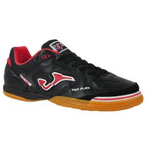 Joma top flex futsal indoor soccer shoes black red