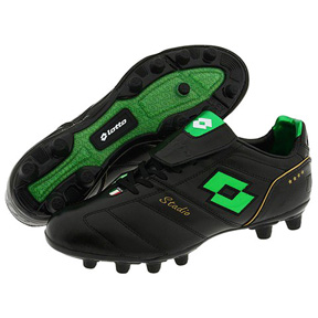 Lotto Stadio Campioni FG Soccer Shoes (Black/Green)