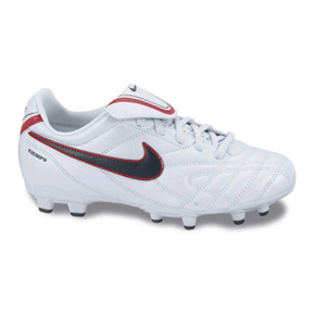 Nike Youth Tiempo Natural III FG Soccer Shoes (White/Red)