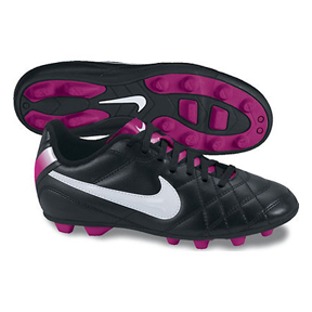 Nike Youth Tiempo Rio FG Soccer Shoes (Black/Fireberry)