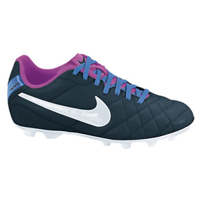 Nike Youth Tiempo Rio FG Soccer Shoes (Navy/Pink)
