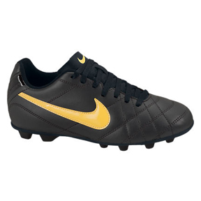 Nike Youth Tiempo Rio FG Soccer Shoes (Charcoal/Orange)