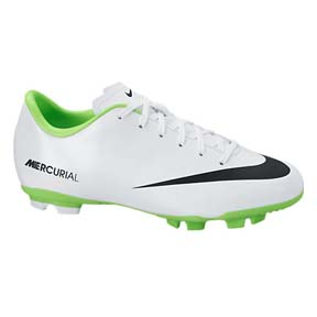 Nike Youth Mercurial Victory IV FG Soccer Shoes (White/Green)