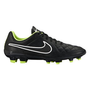Nike  Tiempo Genio Leather FG Soccer Shoes (Black/Volt)