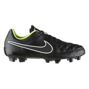 Nike Youth Tiempo Genio Leather FG Soccer Shoes (Black/Volt)