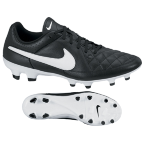 Nike Tiempo Genio Leather FG Soccer Shoes (Black/White)