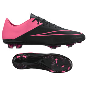 Nike  Mercurial  Vapor  X Leather FG Soccer Shoes (Black/Pink)