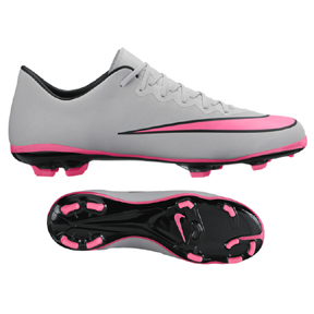 Nike Youth Mercurial Vapor  X FG Soccer Shoes (Wolf Grey/Pink)