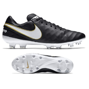Nike  Tiempo Legacy  II FG Soccer Shoes (Black/White/Gold)