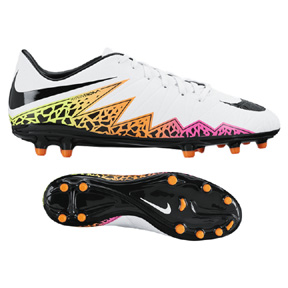 Nike HyperVenom Phelon II FG Soccer Shoes (White/Black/Orange)