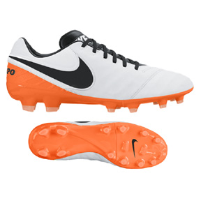 Nike Tiempo Legacy  II FG Soccer Shoes (White/Black/Orange)