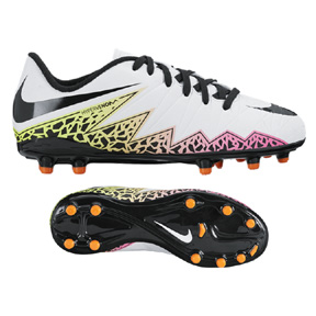 Nike Youth HyperVenom Phelon II FG Soccer Shoes (White/Multi)